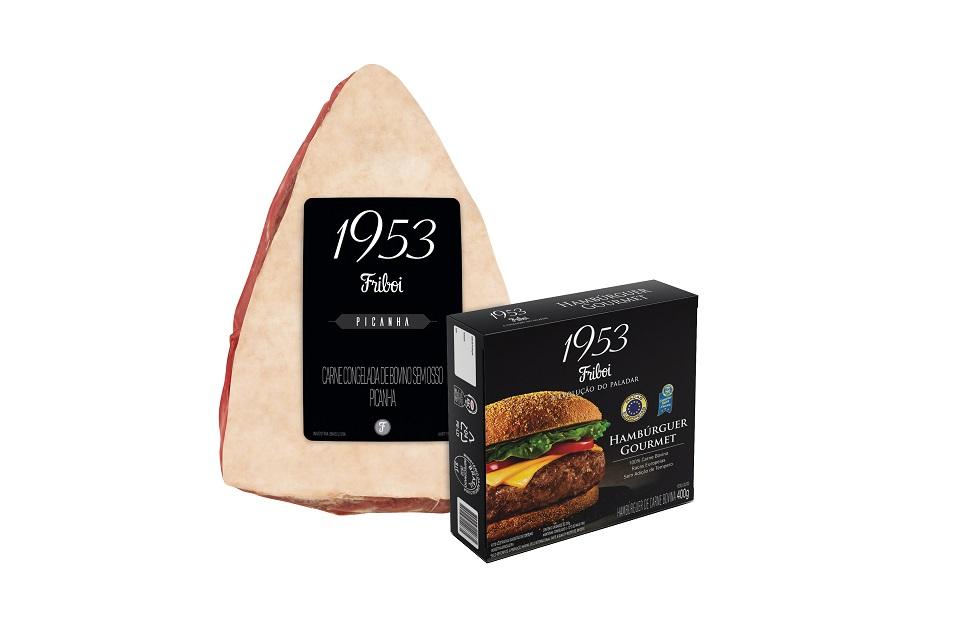 Picanha 1953 friboi e sua caixa que contem hambúrguer gourmet